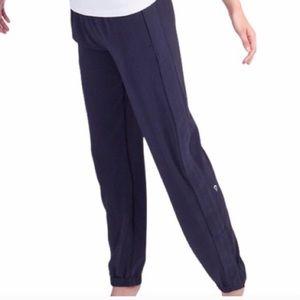 Ivivva Lululemon Your Pursuit Track Pants Navy Blue Pleated Elastic Cuffs 14